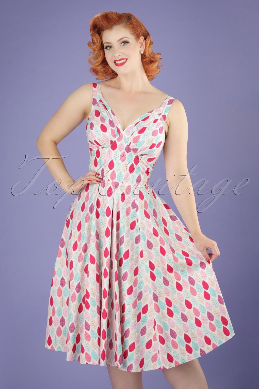500 Vintage Style Dresses for Sale 50s Odessa Summer Leaf Swing Dress in Pink £88.10 AT vintagedancer.com