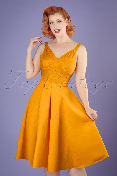 Miss Candyfloss TopVintage Exclusive Yellow Waffle Dress 102 80 20613 20170424 0010w