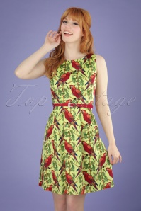 50s Aline Unique Parrots Tea Dress in Lime Green