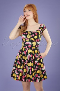 50s Shirley Tutti Frutti Mini Dress in Black
