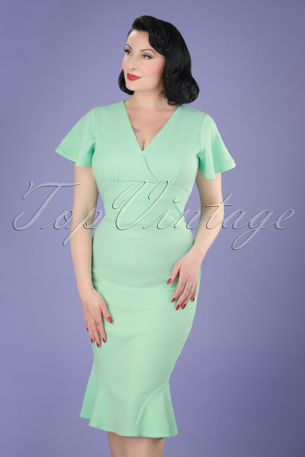 Wiggle Dresses | Pencil Dresses 50s Peggy Waterfall Pencil Dress in Mint £48.25 AT vintagedancer.com