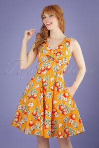 50s Somerset Apples Swing Dress in Orange