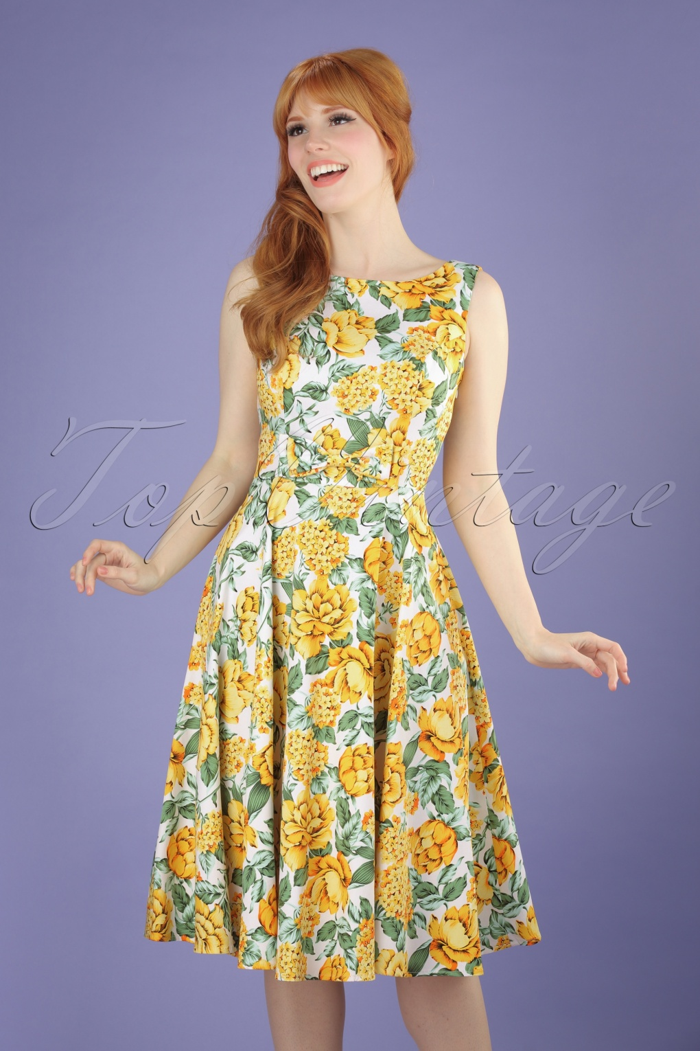 50s Audrey Floral Swing Dress in Yellow and Green