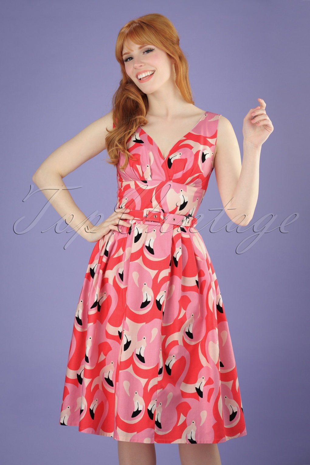 TopVintage Exclusive ~ 50s Flamingo Swing Dress in Pink