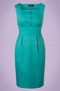 Dolly and Dotty Pencil Dress in Turquoise 100 32 20724 20170502 0007W