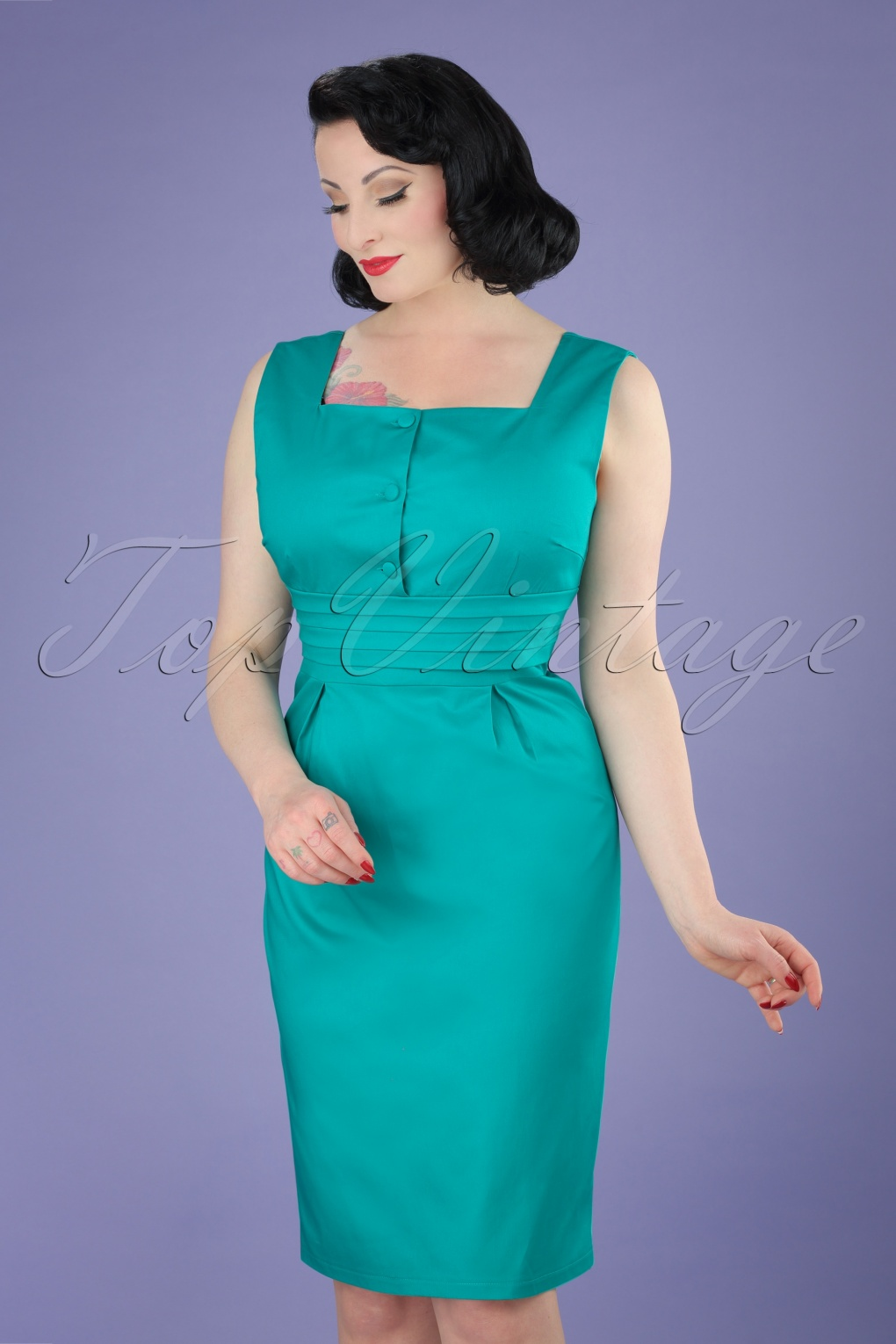 Wiggle Dresses | Pencil Dresses 50s Pauline Pencil Dress in Turquoise £28.98 AT vintagedancer.com