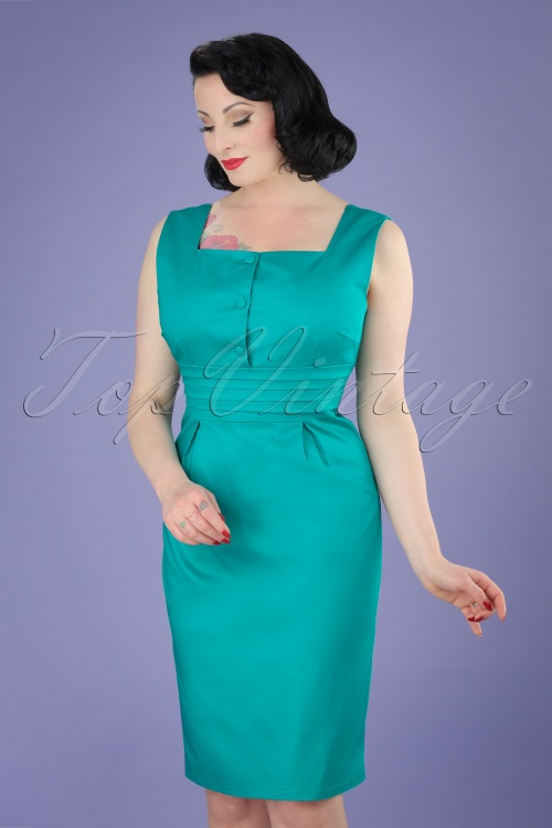 Dolly and Dotty Pencil Dress in Turquoise 100 32 20724 20170502 1W