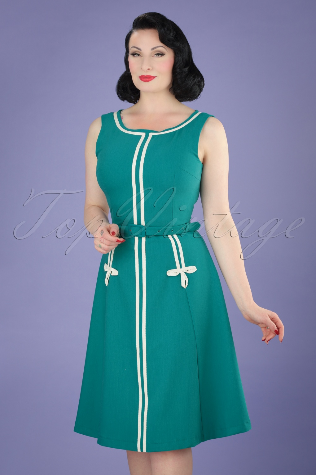 1960s Style Dresses- Retro Inspired Fashion 60s Iris A-Line Dress in Teal £67.69 AT vintagedancer.com