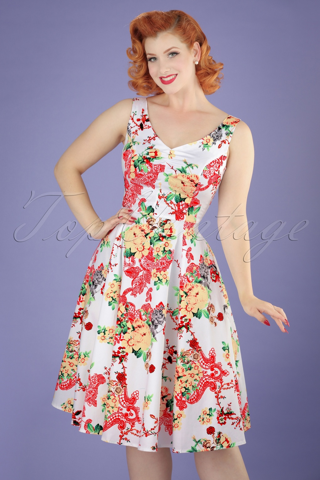 50s Susan Floral Swing Dress in White