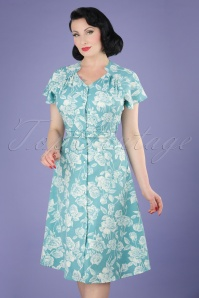 40s Darla Roses Swing Dress in Antique Blue