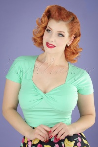 Banned Retro 50s She Who Dares Top in Mint Green