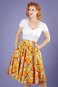 50s Somerset Apples Swing Skirt in Orange