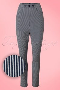 50s Talis Striped Cigarette Trousers in Navy and Ivory