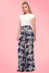 Collectif Clothing Akiko Palm Print Trousers 20761 20161201 01