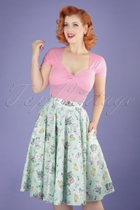 50s Easter Bunny Swing Skirt in Mint