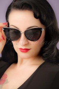 Collectif Clothing Black and Silver Dita Cats Eye Sunglass 260 92 22188 01W
