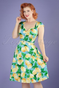 50s Isabella Lemon Swing Dress in Light Blue