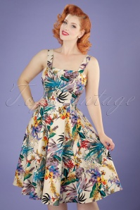 50s Pansies Floral Swing Dress in Cream