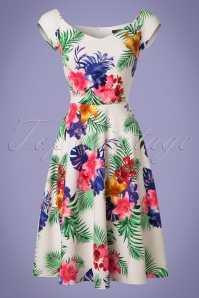 Vintage Chic Waterfall Crepe Cream Tropical Dress 102 57 21997 20170425 0002W