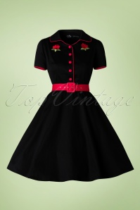 Dolly Do Sherry Black Red Roses Swing Dress 102 10 17231 20160111 0015W
