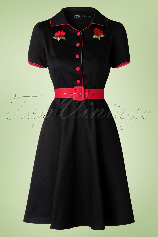 1950s Rockabilly Dresses   Rockabilly Clothing 50s Sherry Roses Diner Dress in Black £43.94 AT vintagedancer.com