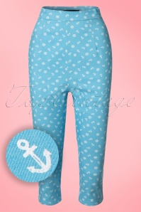 Collectif Clothing Gracie Nautical Capris in Blue 20649 20161201 0005W1