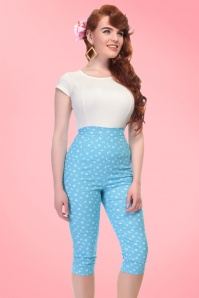 50s Gracie Nautical Capris in Blue