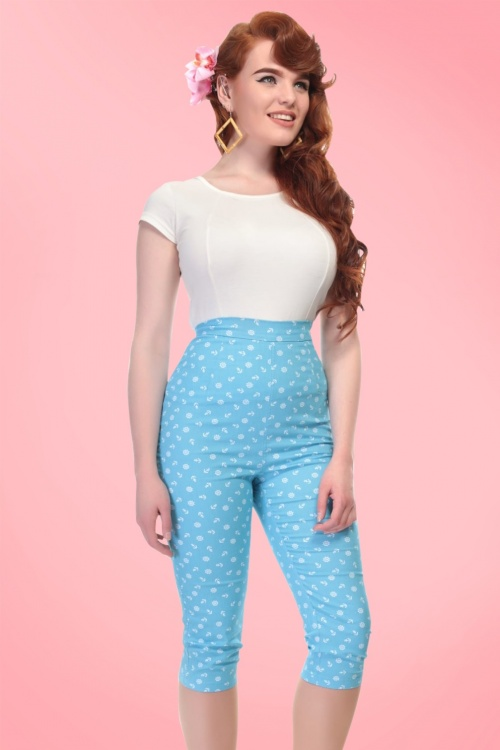 Collectif Clothing Gracie Nautical Capris in Blue 20649 20161201 01
