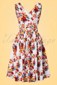 50s Petal Flowers Swing Dress in White