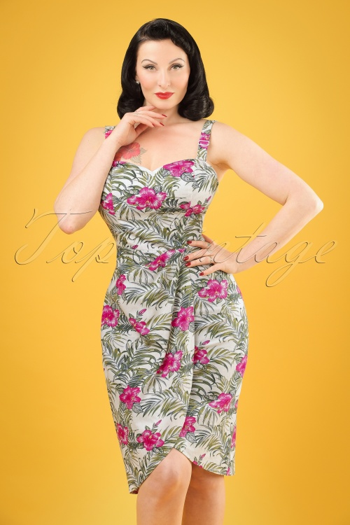 Collectif Clothing Mahini Tropical Hibiscus Saron Dress 20678 20121224 1W