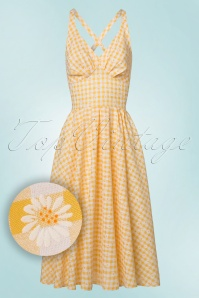 Miss Candyfloss Yellow Daisy Checked Swing Dress 102 89 20611 20170530 0011W1
