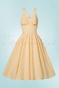 Miss Candyfloss Yellow Daisy Checked Swing Dress 102 89 20611 20170530 0006W