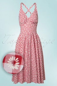 Miss Candyfloss Red Daisy Checked Swing Dress 102 27 20612 20170530 0015W2