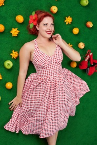 50s Margita Daisy Swing Dress in Red