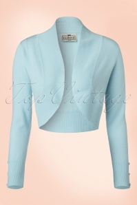 50s Jean Knitted Bolero in Light Blue
