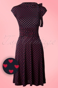 Retrolicious 50s Bridget Heart Bombshell Dress in Navy and Red