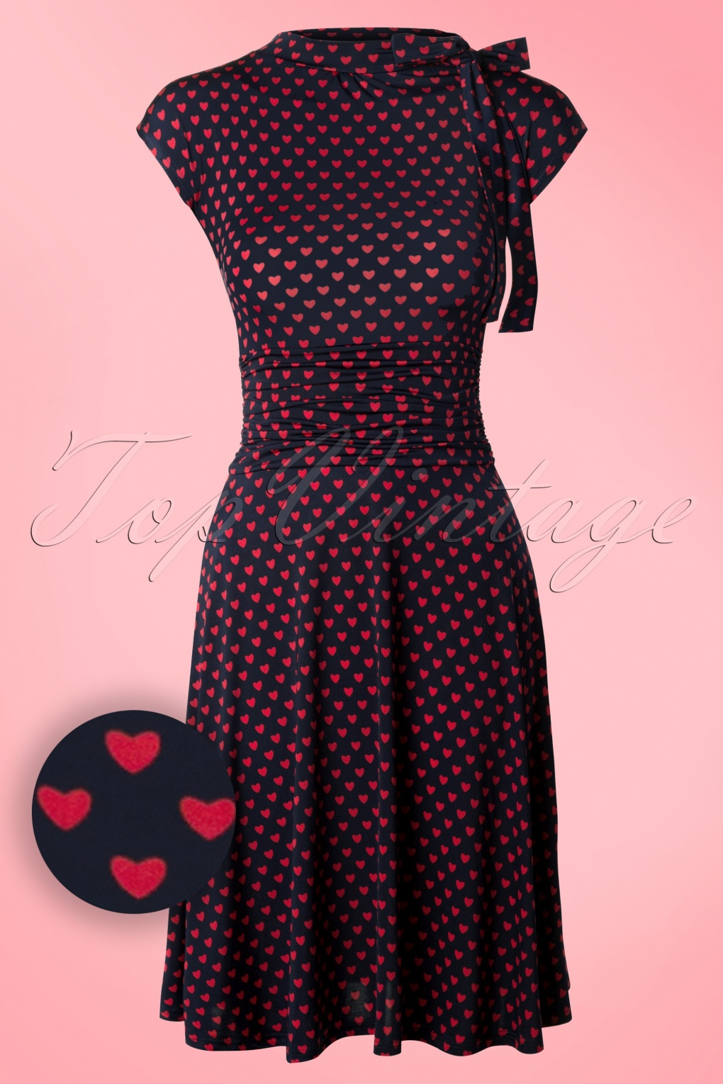 Bridget Heart Bombshell Dress Navy and Red