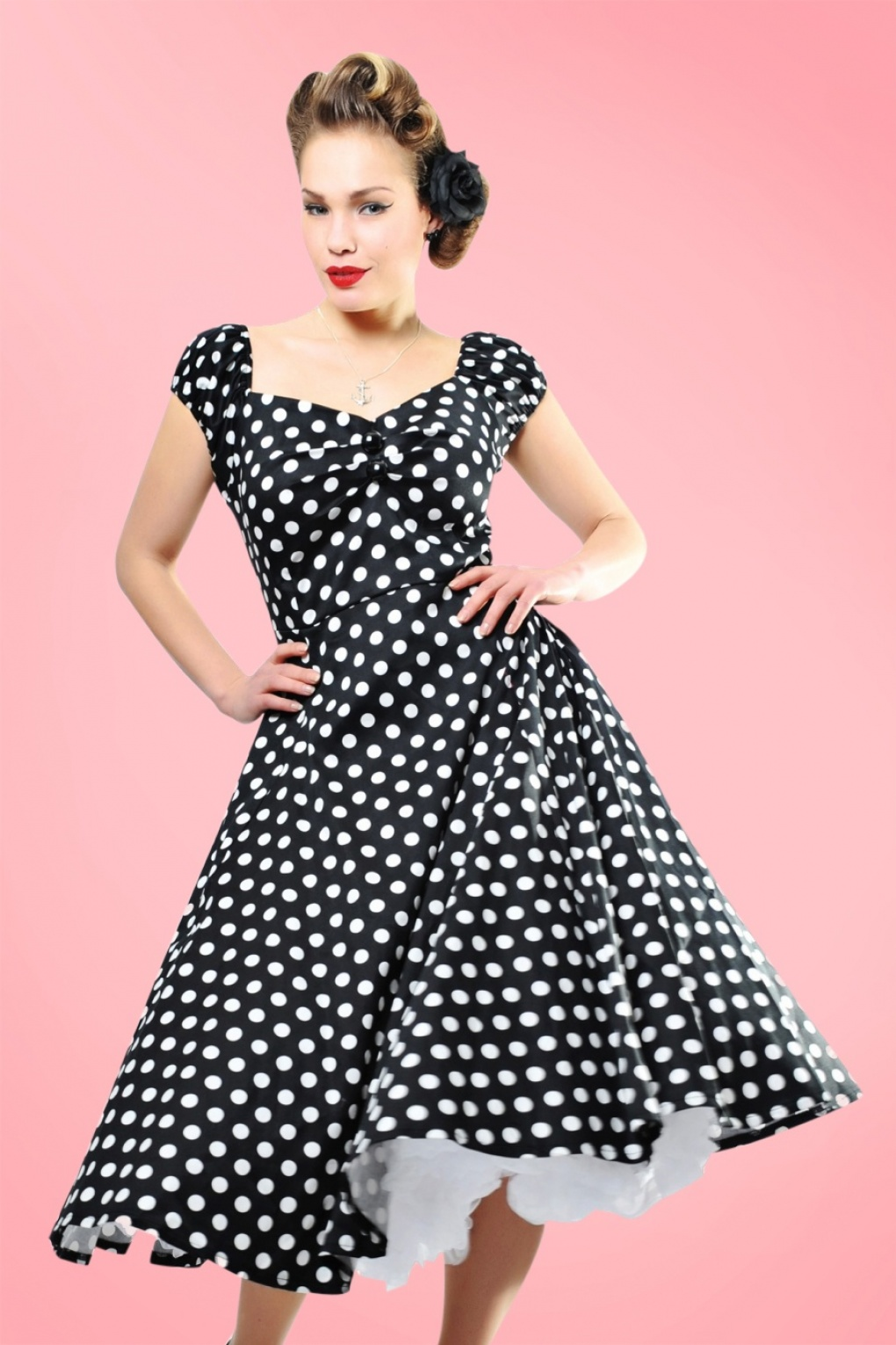 1940s Pinup Dresses for Sale 50s Dolores Doll dress Black White polka swing dress £31.72 AT vintagedancer.com