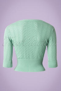 Collectif Clothing Linda Knitted Cardigan Mint Green 14782 20150112 0002W