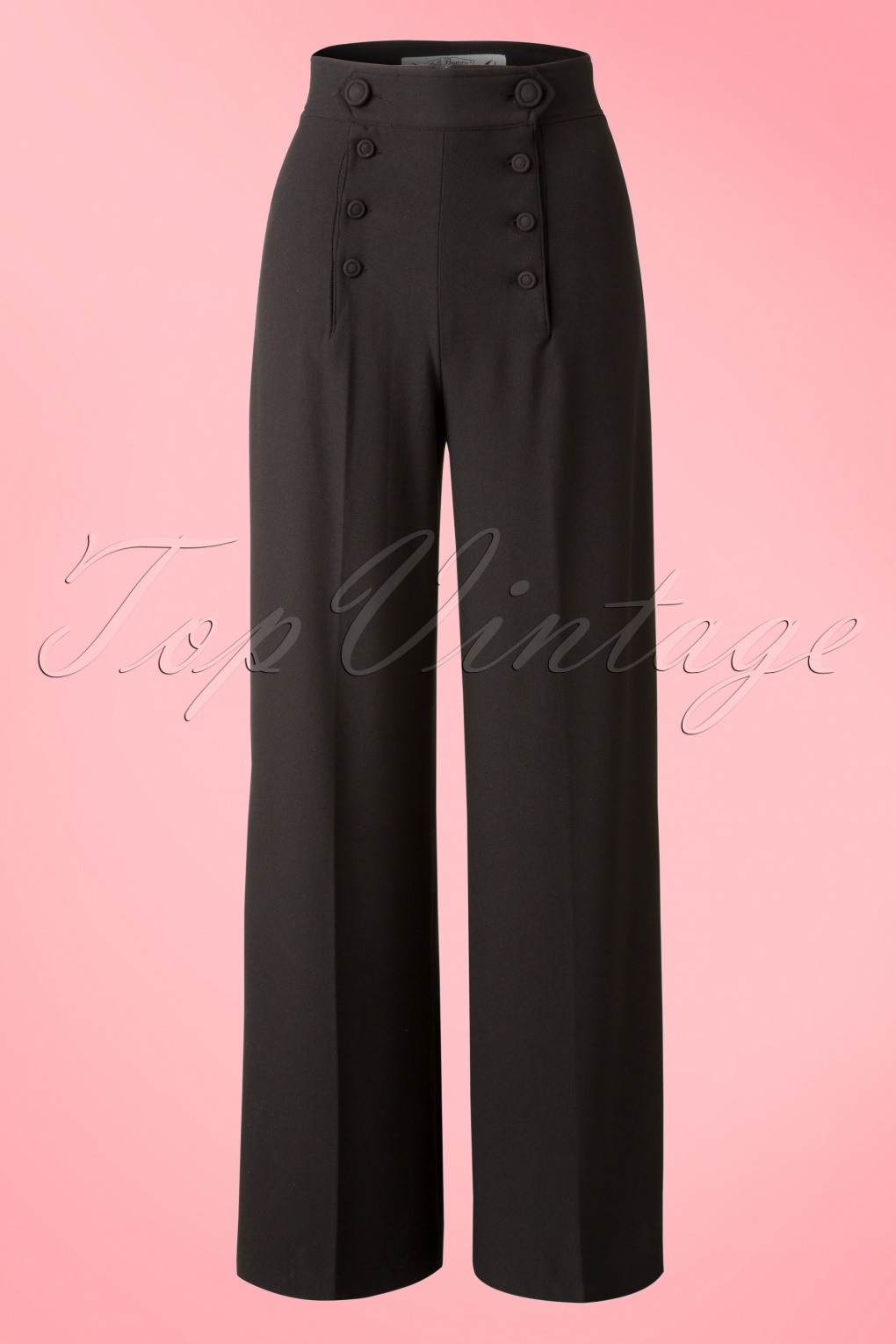 1940s Style Pants & Overalls- Wide Leg, High Waist 40s Nelly Bly Classy Trousers in Black £40.28 AT vintagedancer.com