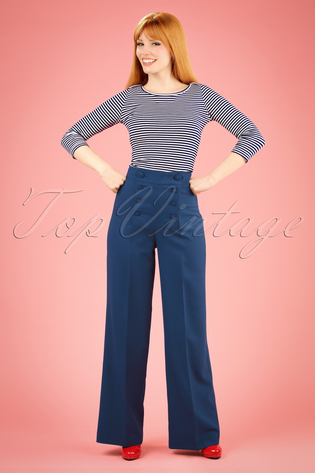 1940s Style Pants & Overalls- Wide Leg, High Waist 40s Nelly Bly Sailor Trousers in Navy £39.45 AT vintagedancer.com