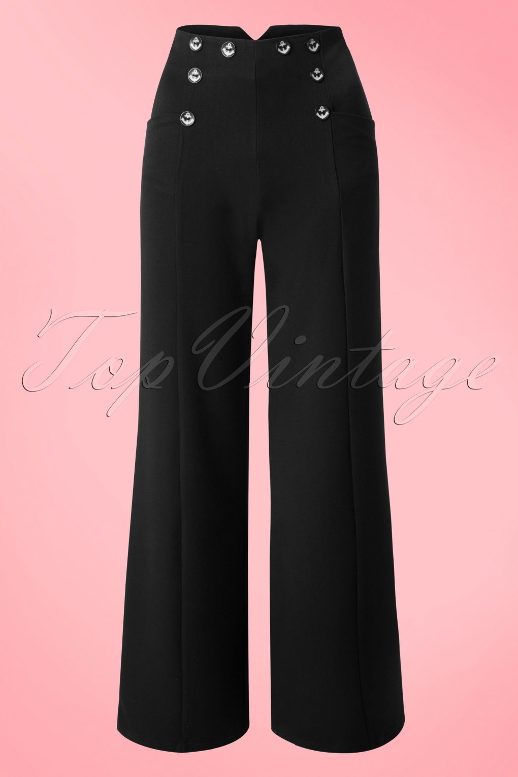 1940s Style Pants & Overalls- Wide Leg, High Waist 40s Stay Awhile Trousers in Black £35.06 AT vintagedancer.com