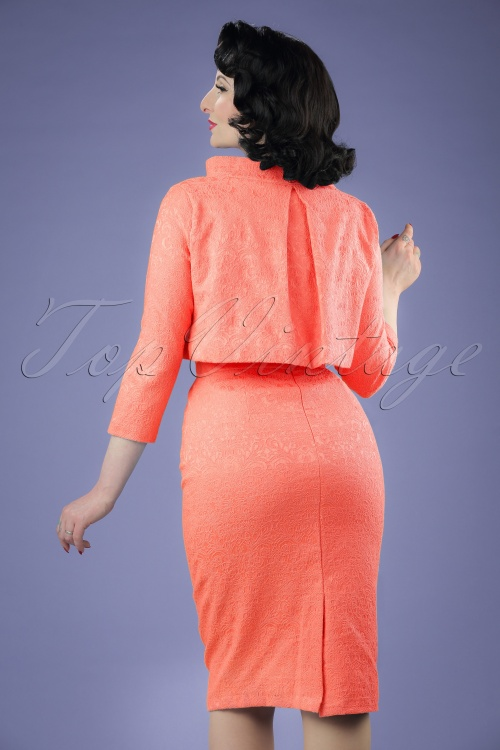 60s Maybelle Jacquard Twin Set in Peach