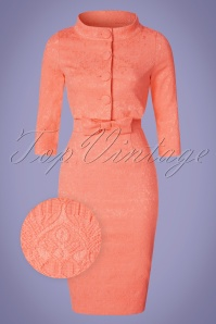 Lindy Bop Maybele Peach Lace Pencil Dress 100 22 21224 20170403 0011wv