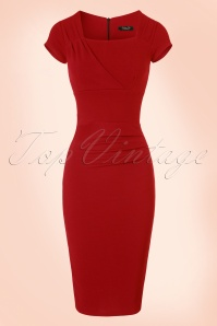 50s Laila Pleated Pencil Dress in Red