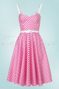 Vixen by Micheline Pitt Dollface Swing dress in Pink Stripes 102 29 21940 20170607 0011W