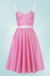 Vixen by Micheline Pitt Dollface Swing dress in Pink Stripes 102 29 21940 20170607 0011W