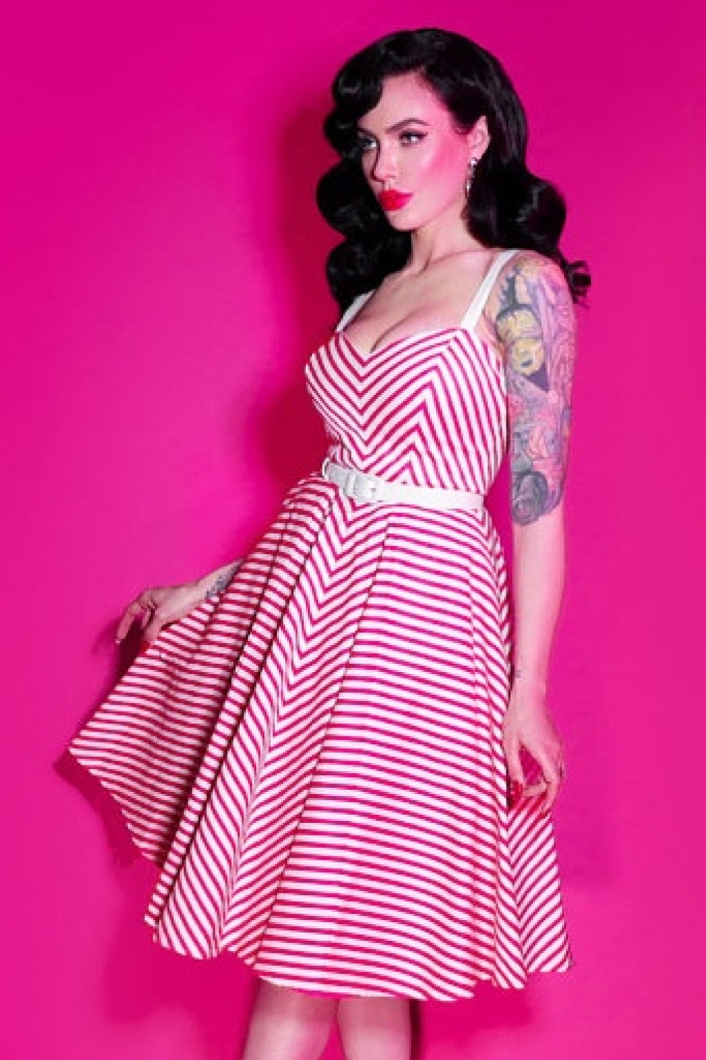 50s Dollface Swing Dress In Pink And White Stripes