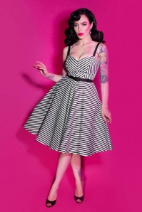 TopVintage exclusive ~ 50s Dollface Swing Dress in Black and White Stripes