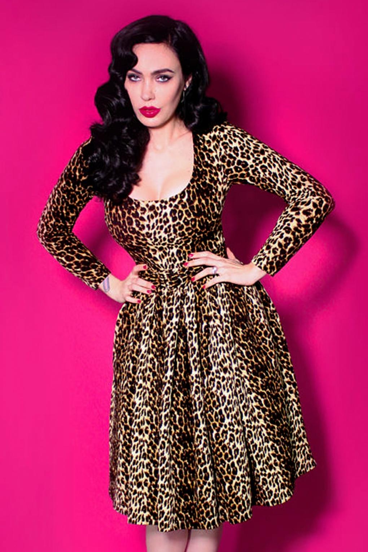 50s Vixen Troublemaker Swing Dress in Leopard 34ee3b42f